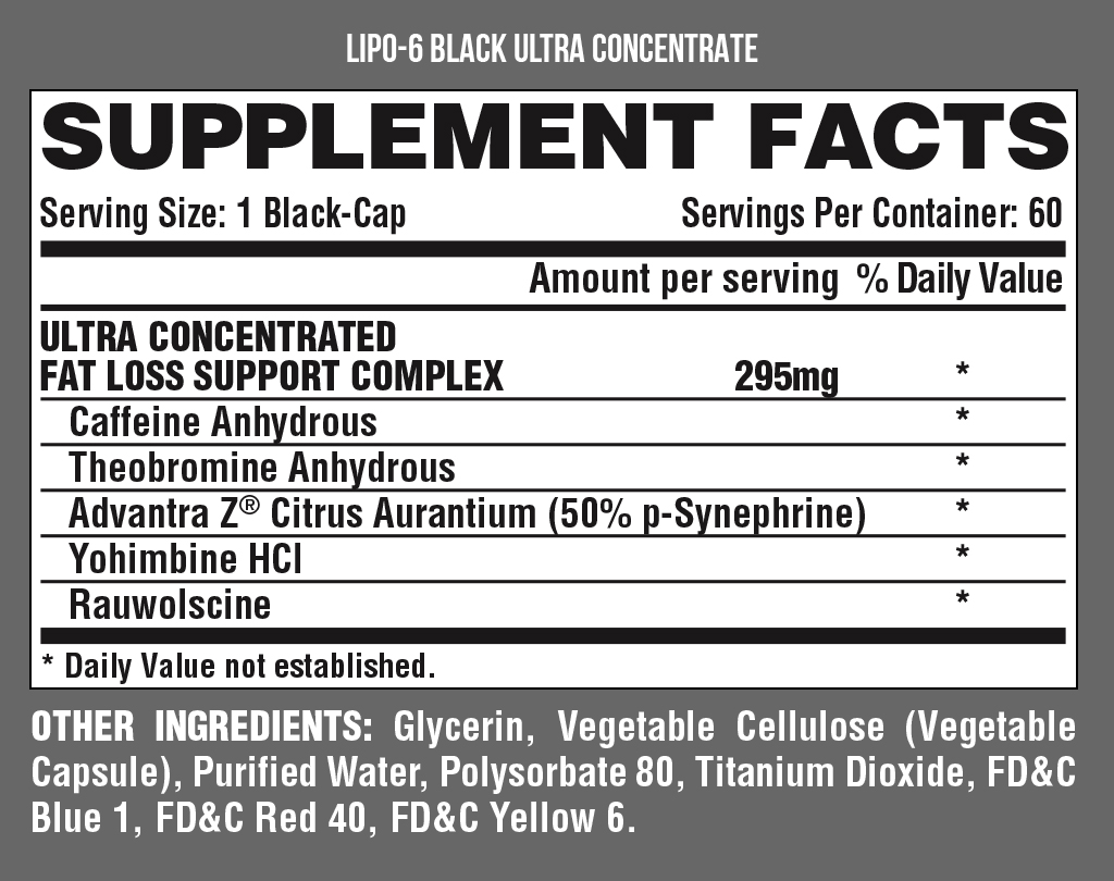LIPO 6 BLACK UC nutrition facts